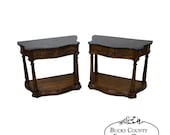 French Louis XV Style Pair of Serpentine Marble Top Nightstands Commodes by White