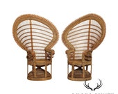 Fine Quality Vintage Pair Wicker Rattan Peacock Chairs