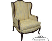 Quality French Louis XV Style High Back Bergere Wing Chair