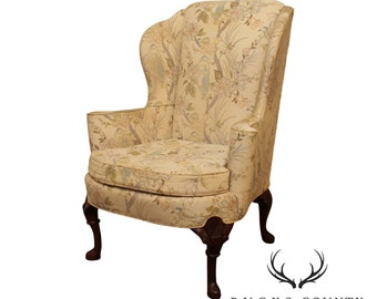 WING CHAIR Vintage French Bergere Carved Wood FrameLegs Original Green Striped Upholstery Traditional Style  Great Condition