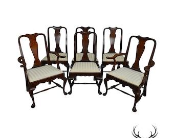 Henkel Harris SPNEA Set Of 6 Solid Mahogany Queen Anne Dining Chairs