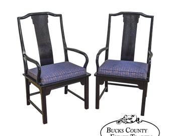 Century Pair Of Black Lacquer Asian Style Arm Chairs