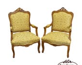 Quality Pair of Custom Upholstered Solid Walnut Louis XV Style Arm Chairs