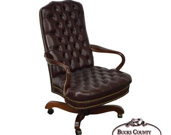 Southwood Tufted Leather Chesterfield Style Executive Mahogany Desk Chair
