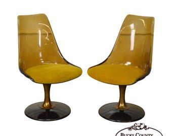 Chromcraft Mid Century Modern Pair Of Smoked Lucite Swivel Chairs