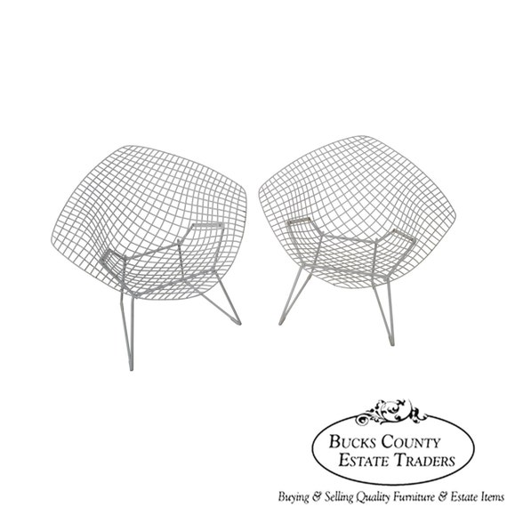 Groovy Harry Bertoia For Knoll Authentic Pair Of Vintage Diamond Lounge Chairs Alphanode Cool Chair Designs And Ideas Alphanodeonline