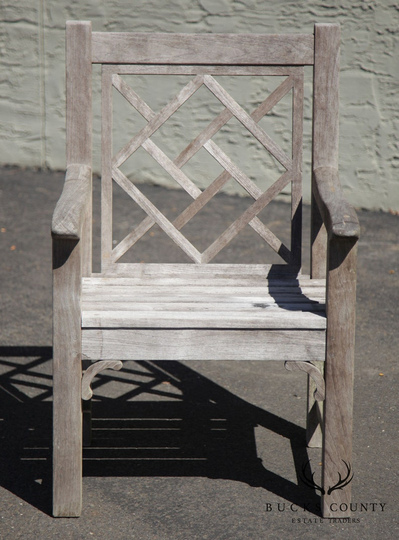 Country Casual Chinese Chippendale Style Solid Teak Patio Armchair