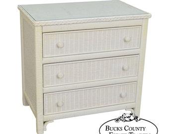 Henry Link White Wicker Vintage 3 Drawer Chest Single Dresser