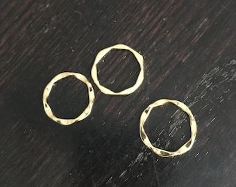 Gold Vermeil Wave Hoop Beads - Qty 3