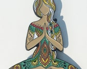 Yoga Girl Art Design Full Color Enamel Pin Namaste Lotus