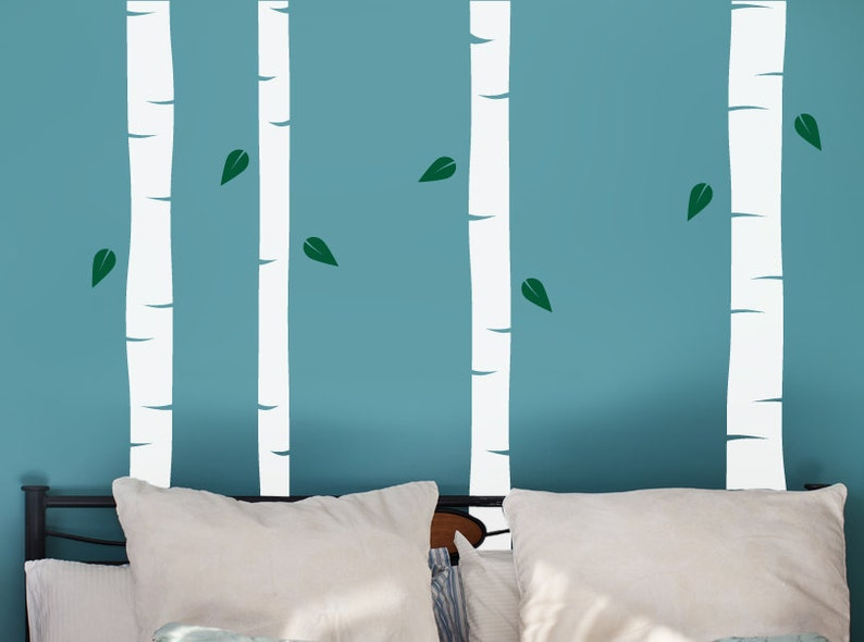 Beautiful Birch Trees with Leaves Vinyl Wall Decal Pack
