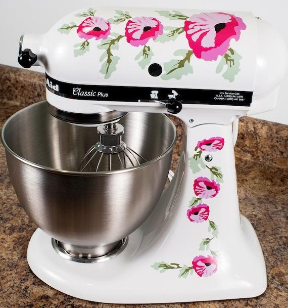 Pink Poppy Flowers Watercolor Kitchenaid Mixer Mixing Machine Decal Art Set