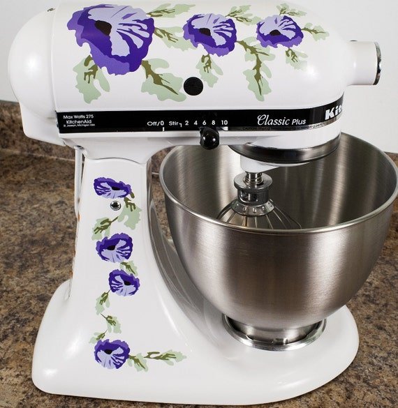 Purple Poppy Flowers Watercolor Kitchenaid Mixer Mixing Etsy