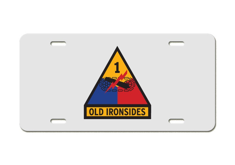 1st Armored Division Gold US Army Aluminum License Plate