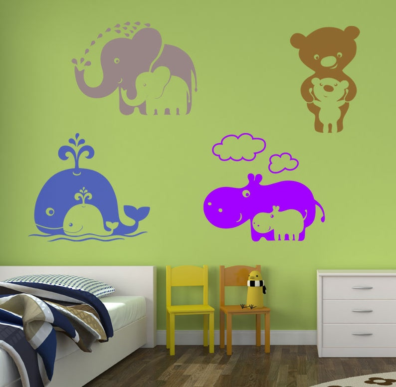 Zoo Babies Mommy and Baby Hippo Vinyl Wall Decal