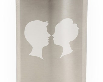 Lovers Kissing Etched Hip Flask 8oz