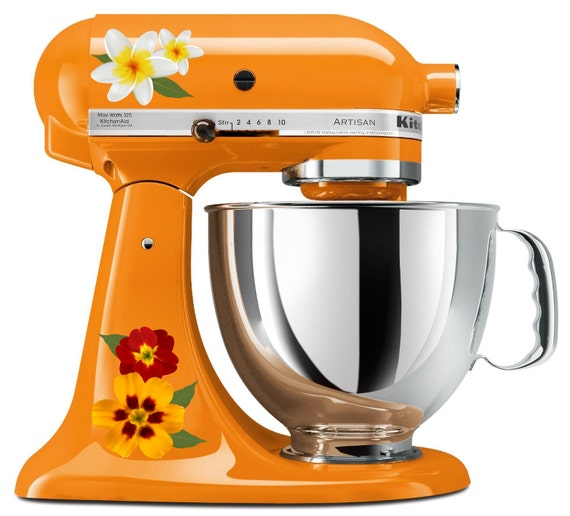 Pretty Lily and Garden Flower Kitchenaid Mixer Mixing Machine Decal Art Set