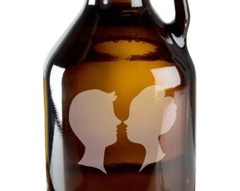 Lovers Kissing 64oz Beer Wine Growler