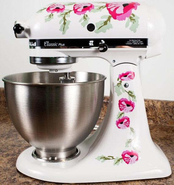 Pink Poppy Flowers Watercolor Kitchenaid Mixer Mixing Machine Decal Art Set