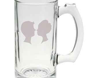 Lovers Kissing In Love Hand Etched Mug 25 oz Beer Stein Glass Cup