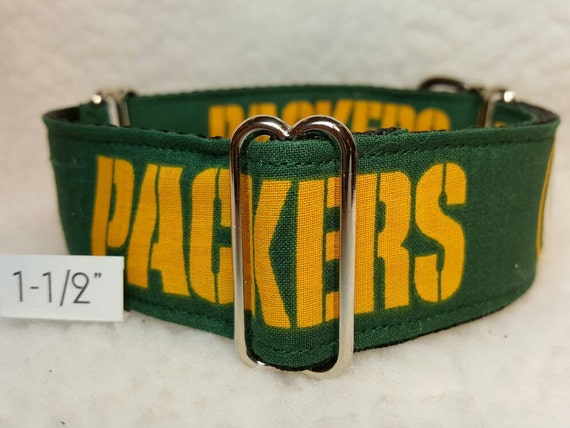 Green Bay Packers Leather Football Lace Dog Collar Small to Large