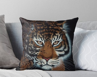 Tigers Wildlife Abstract Tiger Face Faux Silk 45cm x 45cm Sofa Cushion