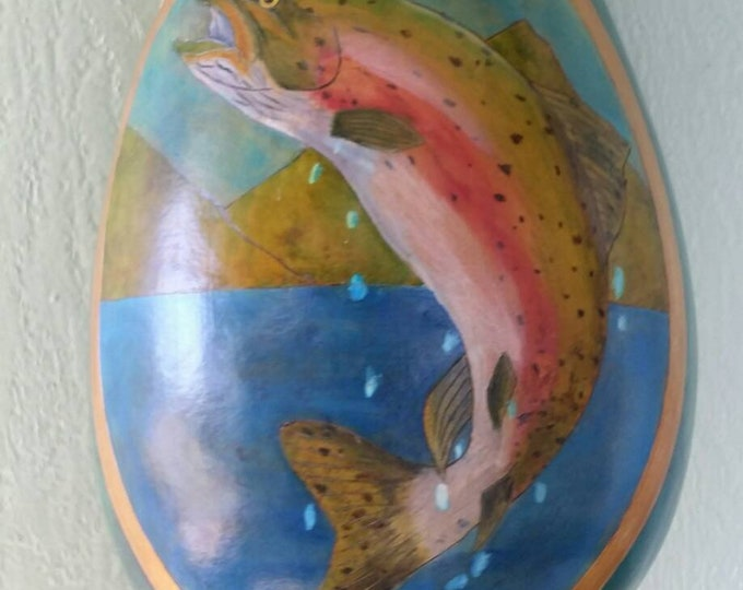 Featured listing image: Thunder gourd hand painted  with our prize trout.