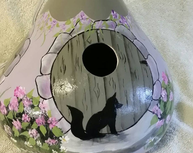 Featured listing image: Hand painted gourd birdhouse  cottage style painted lavender  with a beautiful garden decor.  For fox collectors a curious neighbor