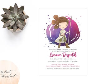 Star Wars Birthday Invitation Invite Girl Rey