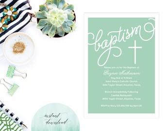 Printable Instant Download Baptism Invitation for a Boy or Girl   Elegant Baptism Invitation   Elegant Christening Invitation