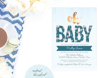 shabby chic baby shower invite, shabby chic baby shower invitation, shabby chic shower printable, floral baby shower