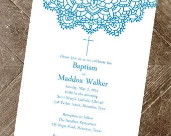 Printable Instant Download Baptism Invitation for a Boy   Elegant Baptism Invitation   Elegant Christening Invitation