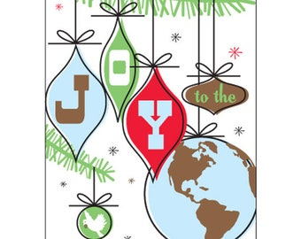 Set of 10 Funny, Cool Christmas Cards - Joy to the World