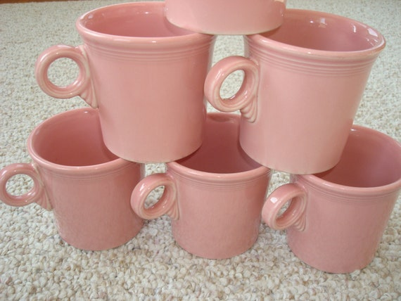 bf8bbfbdffa Vintage Fiesta Pink Rose Mugs Fiesta Retired Tom and Jerry | Etsy