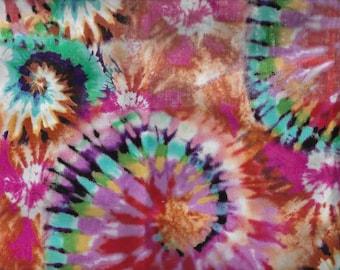 b6b5085a1788 Tye Tie Dye Fabric Red Orange Teal Blue Retro Swirl Cotton Fabric BTY Half  Yard t3 39
