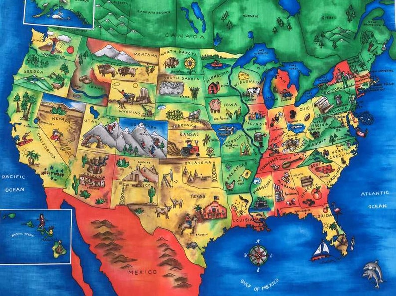 USA Explore America Map Educational Fabric Panel School | Etsy