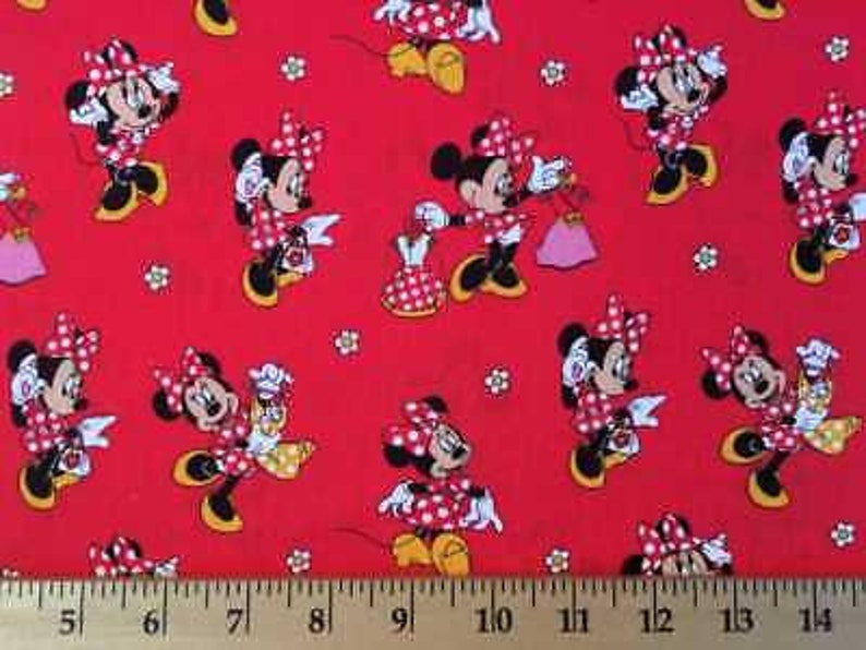 Minnie Mouse Loves Dress Shopping Disney Mickey Mouse Friend Red Cotton Fabric