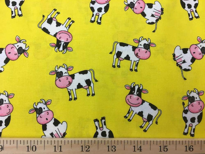 Cow Fabric Yellow Farm Fabric Black & White Cows on Yellow Fabric Country  Dairy Farm Fabric Barn Animal Cotton Dress Fabric w8/29
