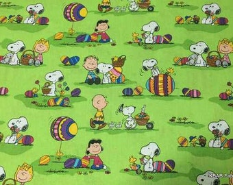 Easter Fabric Egg Hunt Peanuts Gang Fabric SNOOPY Charlie Brown Fabric Woodstock Linus Lucy Green Cotton Quilting Fabric
