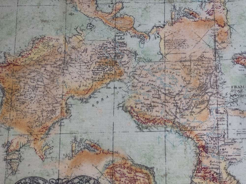 World Map Fabric Antique Look Fabric Nautical Explorer Map Fabric World  Atlas Fabric Ocean Chart Cartography Cotton Fabric t1/32