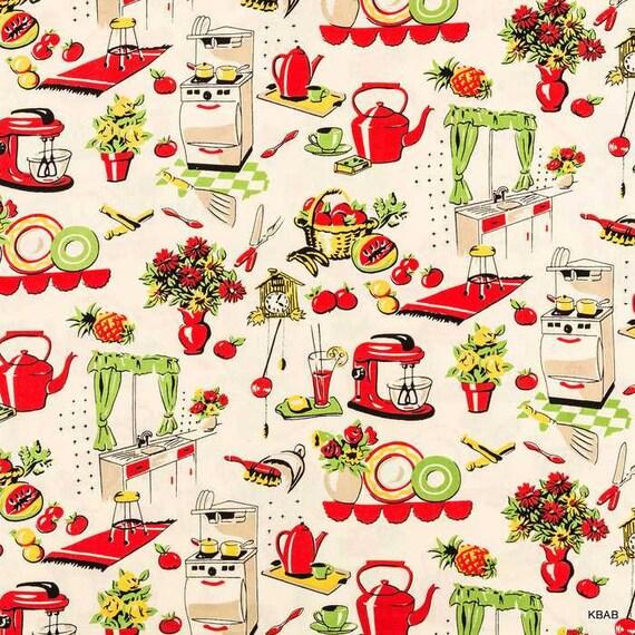 Fünfziger Jahre Küche Stoff Retro 50er Jahre Küchengeräte auf Creme Stoff  Michael Miller nostalgische 50er Jahre Küche Baumwollstoff t4/11