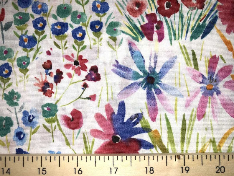 Garden Floral Blessing Blocks Bird /& Seed Packs Potted Flower Cotton Fabric t2//1