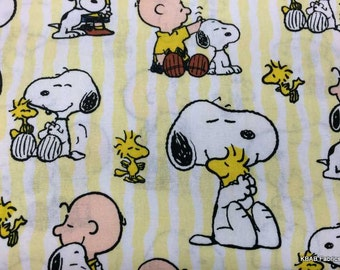 Snoopy Fabric Peanuts Charlie Brown Snoopy Striped Fabric Dog Bird Woodstock Yellow White Stripe Cotton Baby Nursery Fabric t5/23