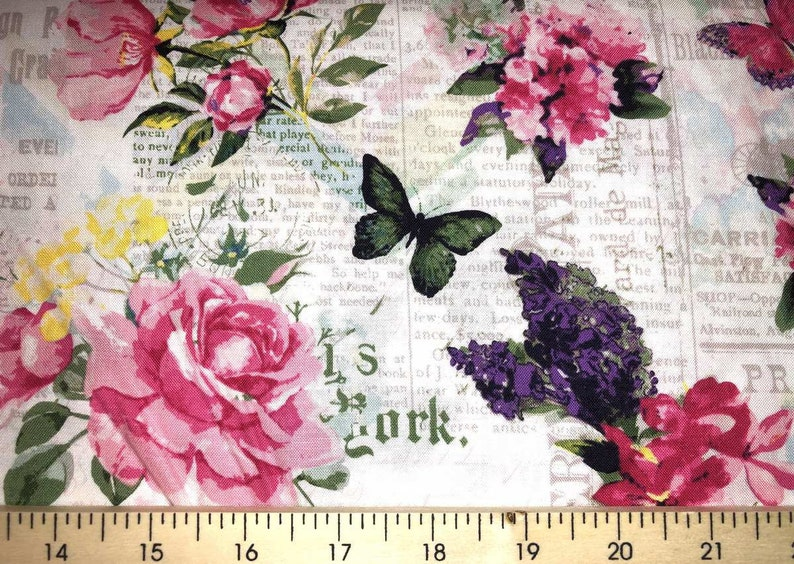 Pink Rose Butterfly Butterflies Roses Newspaper Watercolor Cotton Fabric T1//24