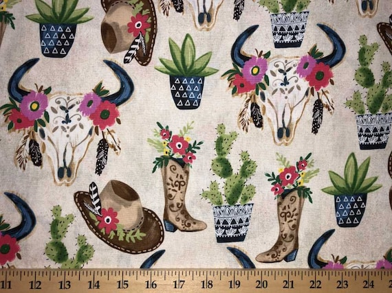5f3afd80335 Cowgirl Cactus Floral Skull Fabric Cowboy Western Hat Boots
