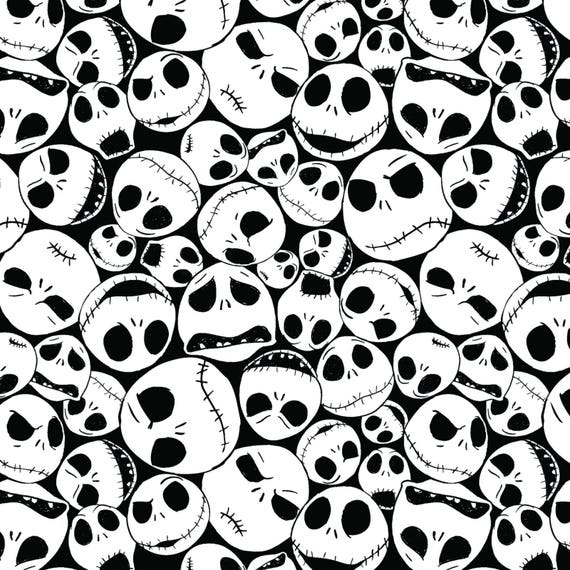 Nightmare Before Christmas Images Black And White.Nightmare Before Christmas Fabric Packed Jack Skellington Fabric Jack Faces Fabric Tim Burton Black White Halloween Cotton Fabric In Stock
