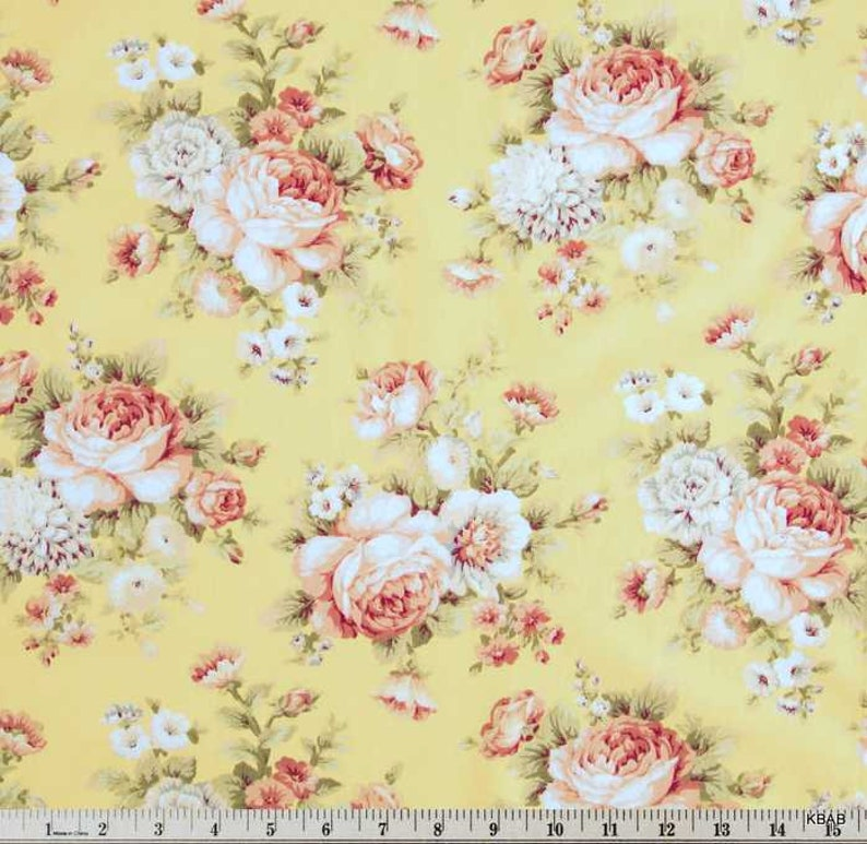 Cottage Rose Yellow Fabric Large Shabby Floral Pink Rose Etsy