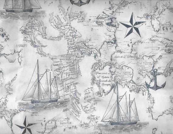 Nautical ocean map fabric world ship anchor boat sea world gumiabroncs Gallery