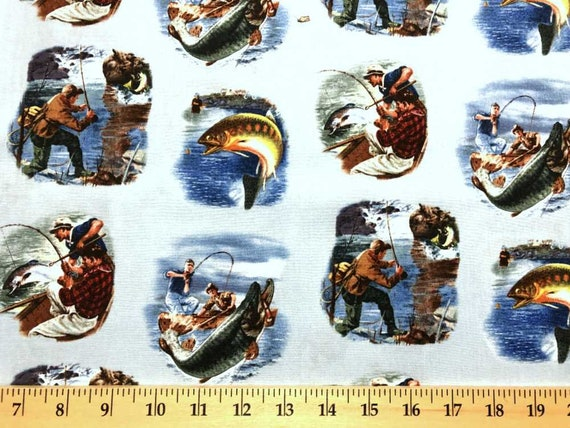 Fisherman Fishing  Boat Rod Reel Trout Fly  Fish Sports CREAM Cotton Fabric