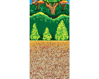 Forest backdrop 8 bit Mario Minecraft inspired. 4 foot by 30 foot.
